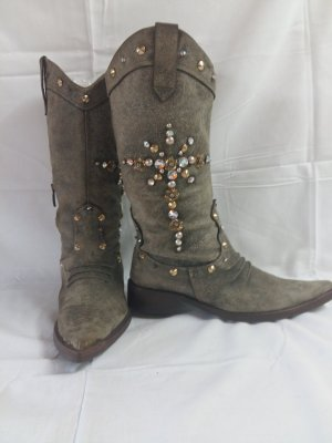 Boots western gris cuir
