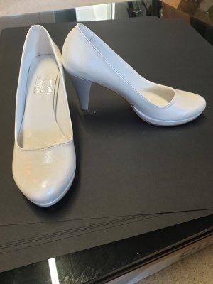 -8- Venice Chaussure à talons carrés blanc cassé