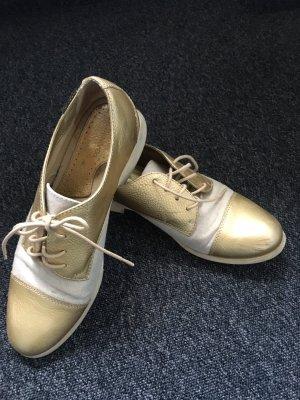 G.H. Bass & Co. Sznurowane buty złoto-jasnobeżowy Skóra
