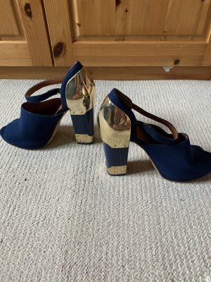 & other stories Strapped pumps blue cotton