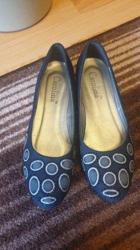 Foldable Ballet Flats blue cotton