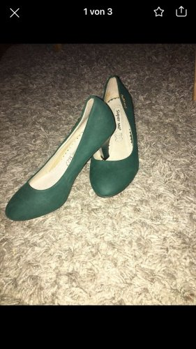 Plateauzool pumps bos Groen