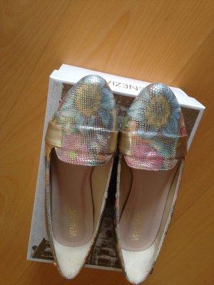 Schuhe, Halbschuhe, neu, Metallic-Gold-Look, Gr.39, Leder