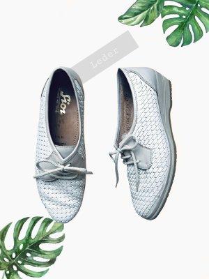 Schuhe Halbschuhe sneaker Leder weiß Perle sioux Latex hellgrau Absatz | vintage | 39