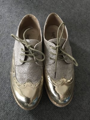 Super Me Wingtip Shoes gold-colored