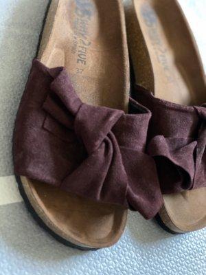 Sandales confort brun rouge