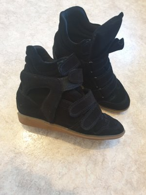 Wedge Sneaker black leather