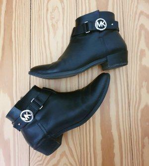 Schuhe Michael Kors schwart Boots Stiefeletten silber Leder