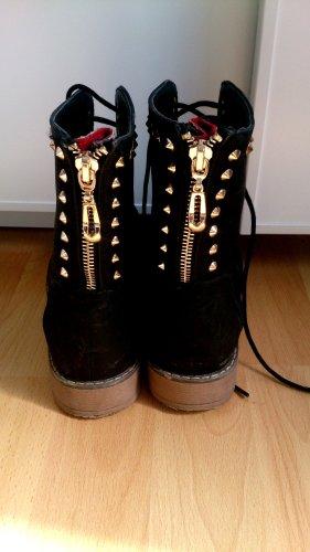 Bottines à lacets noir-doré
