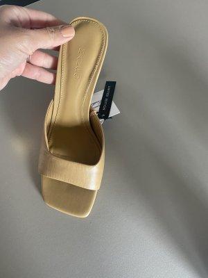 Schuhe Mules 39 Leder beige nude