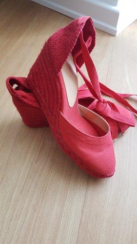 Castañer Espadryle czerwony Tkanina z mieszanych włókien