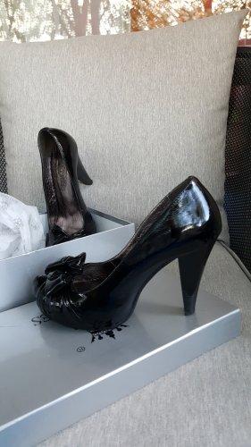 Schuhe, Pumps, Lackleder, Schwarz