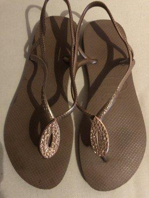 Schuhe Sandaletten Zehentrenner Gold TOP