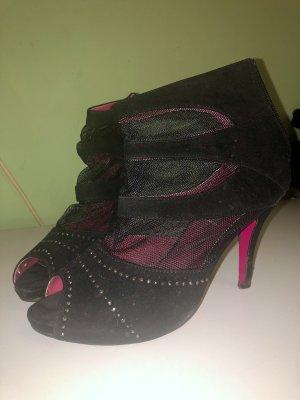 Schuhe Schwarz Pumps Stiefeletten Strass Wildleder Netz Optik Pinke Sohle Größe 39