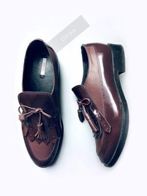 Schuhe slipper loafer Fransen Schoko braunrot Fuchs elegant Absatz sportlich NP: 145€ | geox | 39