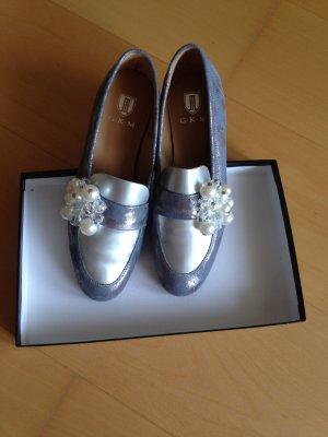 Schuhe, Slipper, neu, Leder, Metallic-Look, Gr.38