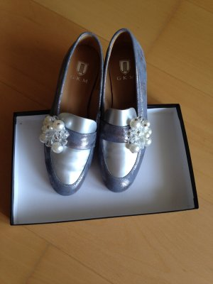 Schuhe, Slipper, neu, Leder, Metallic-Look, Gr.38