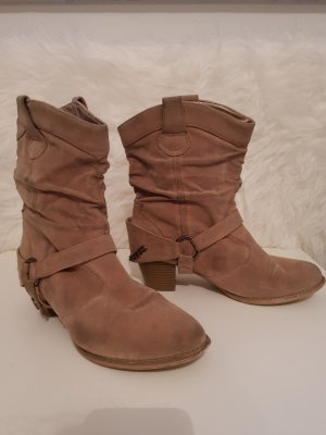 Schuhe Stiefeletten Cowboy Absatz beige Gr.40