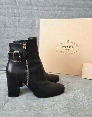 Schuhe Stiefeletten Prada Leder Schwarz Größe 38,5