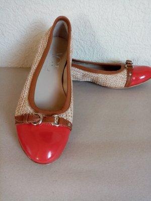 AGL Ballerina di pelle verniciata beige-rosso