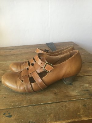 Zapatos Mary Jane coñac Cuero