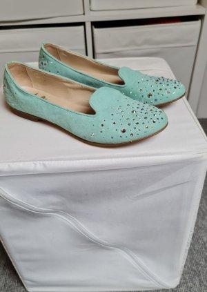 gallucci Bailarinas con tacón con punta abierta azul claro
