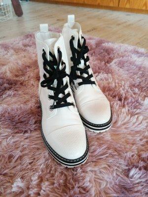 Deichmann Botas de tobillo blanco-negro