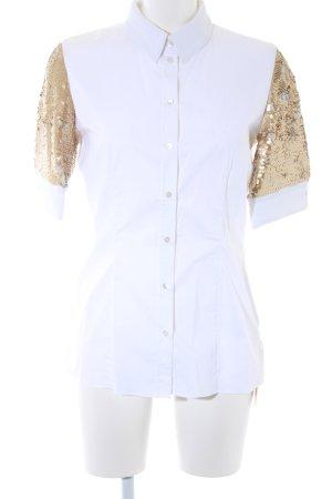 Schuhmacher Kurzarmhemd weiß-goldfarben Elegant