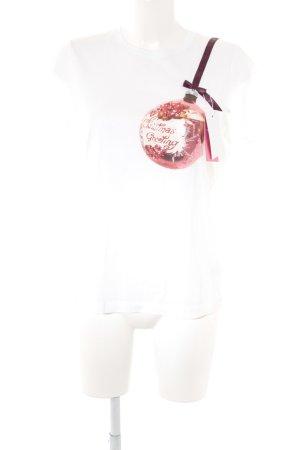 Schuhmacher T-Shirt weiß-bordeauxrot Motivdruck Casual-Look