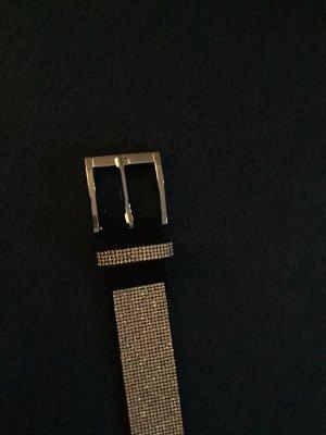 Cinturón de tela color plata