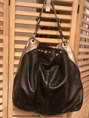 Schulter-Tasche, Echtleder, schwarz