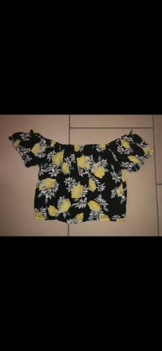 Gina Tricot Camisa tipo Carmen amarillo pálido-negro