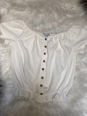 Amisu Carmen blouse wit-bruin