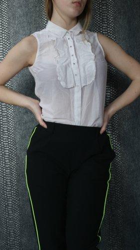 schulterfreie bluse aus seide mit glitzersteinchen und rüschung