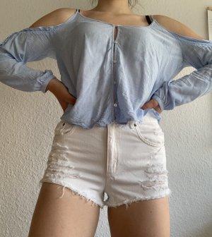 H&M Hauts épaule nues blanc-bleu azur