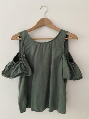 Schulterfreie Bluse in schönem Dunkelgrün, Denim Style