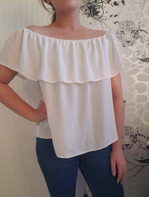 Schulterfreie Bluse in weiß