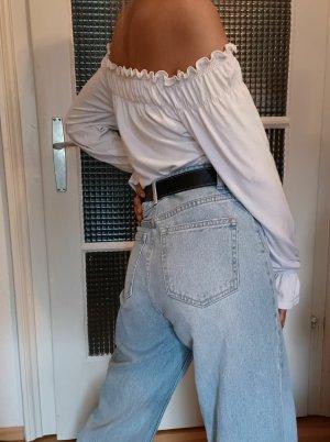 Schulterfreie Bluse mit Stretchband [Weiß, Gr. S]