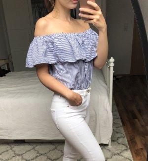 Schulterfreie Bluse mit Volants