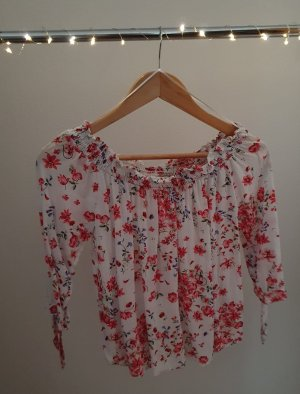 Schulterfreie Bluse von Orsay Größe 34 weiß geblümt