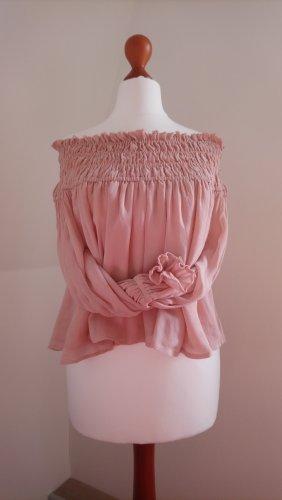 Schulterfreie rosa Bluse Hängerchen offshoulder Babydoll pink Langarm