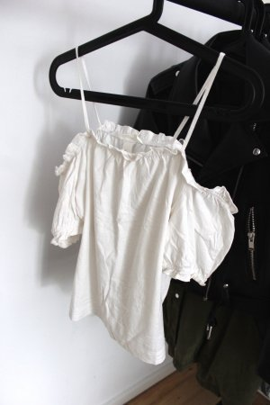 Schulterfreie weiße Bluse