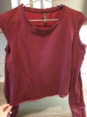 FB Sister Off-The-Shoulder Top blackberry-red cotton