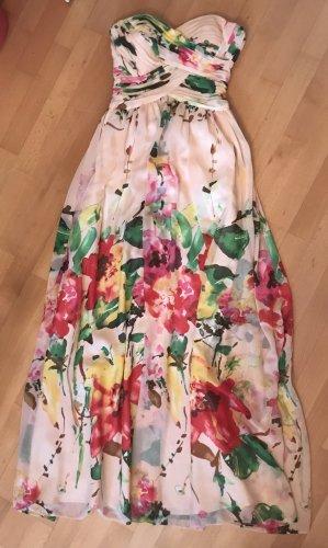 Schulterfreies Abendkleid, beige mit Blumenprint