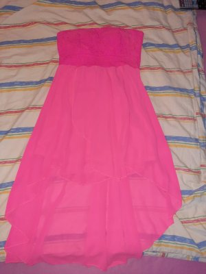 Robe bas asymétrique rose-rose fluo