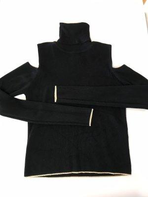 Zara Knit Blusa tipo body negro-color oro