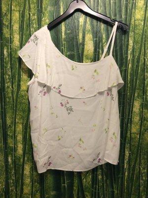 Yessica Camisa de un solo hombro blanco-blanco puro Viscosa