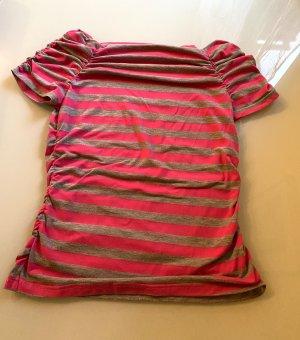 Schulterfreies gestreiftes T-Shirt in pink-grau Flashlights Gr. S