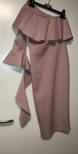 Vestido de un hombro color rosa dorado