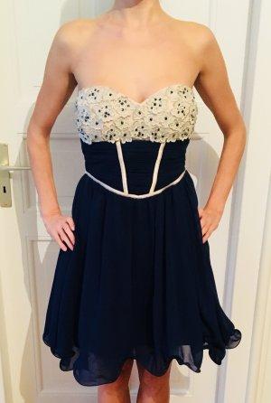 Schulterfreies Kleid in dunkelblau